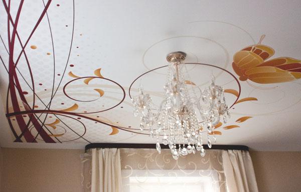 Фотопечать на натяжном тканевом потолке