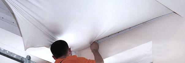 Монтаж сатиновых натяжных потолков