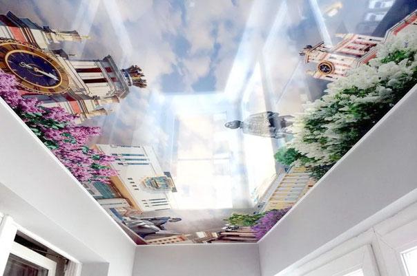 Потолок с фотопечатью города